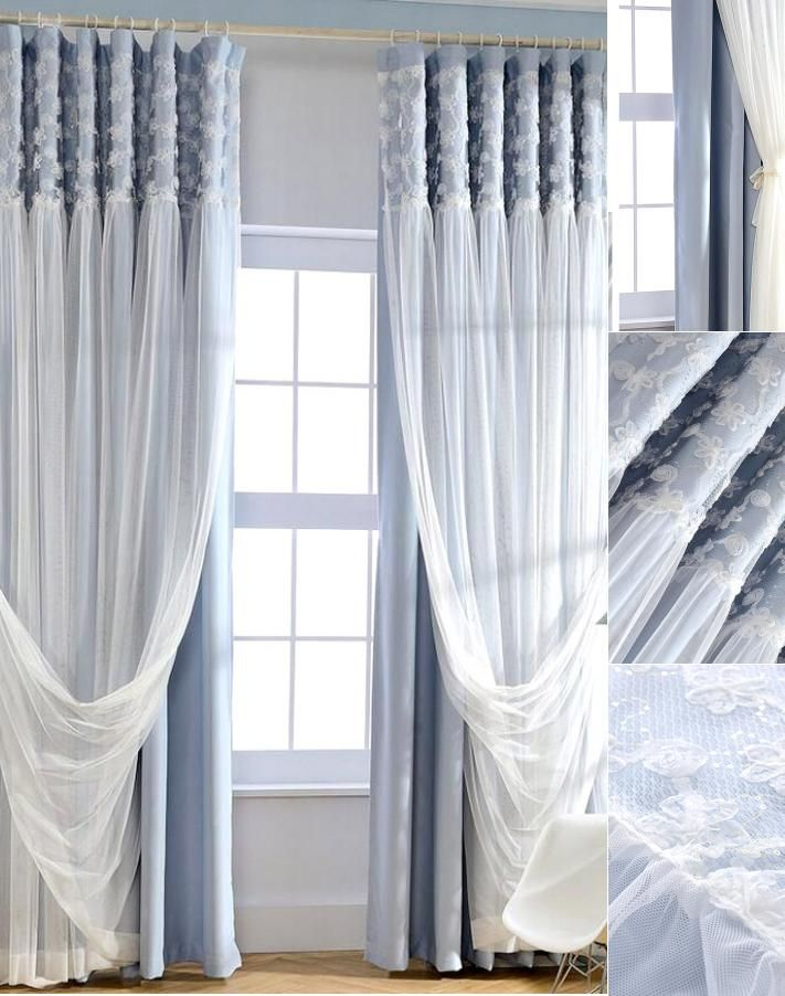 Admirable Romantic Blue Blackout Fabric And White Lace Curtain In 2019 Beutiful Home Inspiration Papxelindsey Bellcom