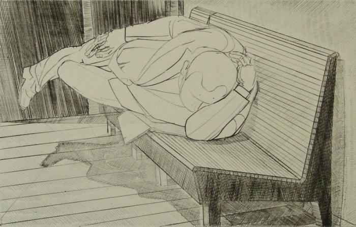 mand på bænk