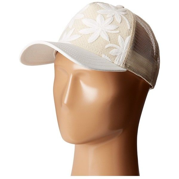 Pistil Eden (Ivory) Caps ($32) ❤ liked on Polyvore featuring accessories, hats, curved brim hats, floral snapback hats, truck caps, trucker hats and floral snapbacks
