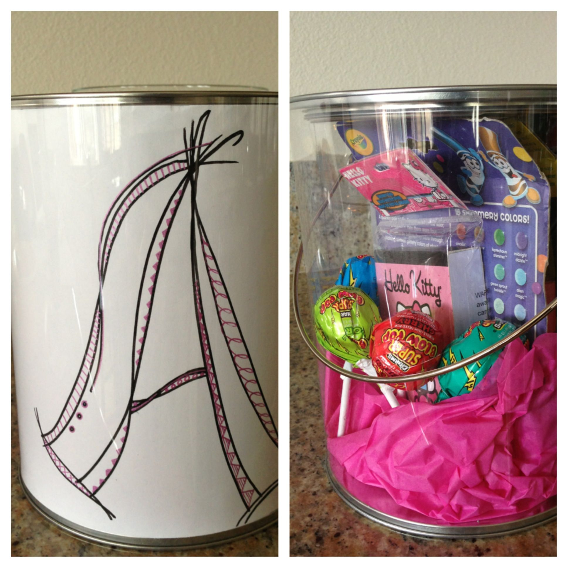 Draw a picture and insert in a plastic paint can from Michael's and fill with art supplies and goodies!