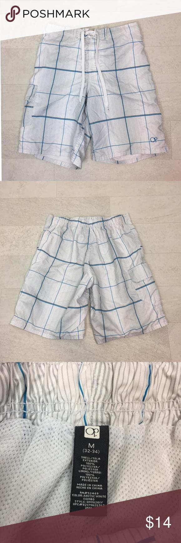ca9cc57d95 OP Swim Trunks Sz Medium 32 34 Lined Board Shorts Ocean Pacific (OP) Swim  Suit Tie waist with velcro closure Cargo pockets Mesh lined White, blue, ...