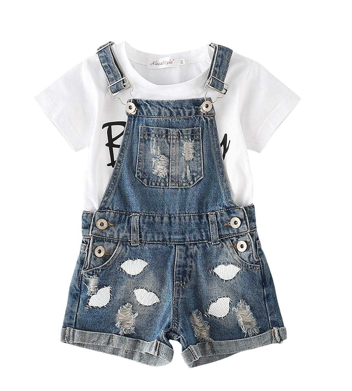 Chumhey Baby /& Little Girls 2pc Short Sleeve Tee Denim Ruffle Summer Shorts Set