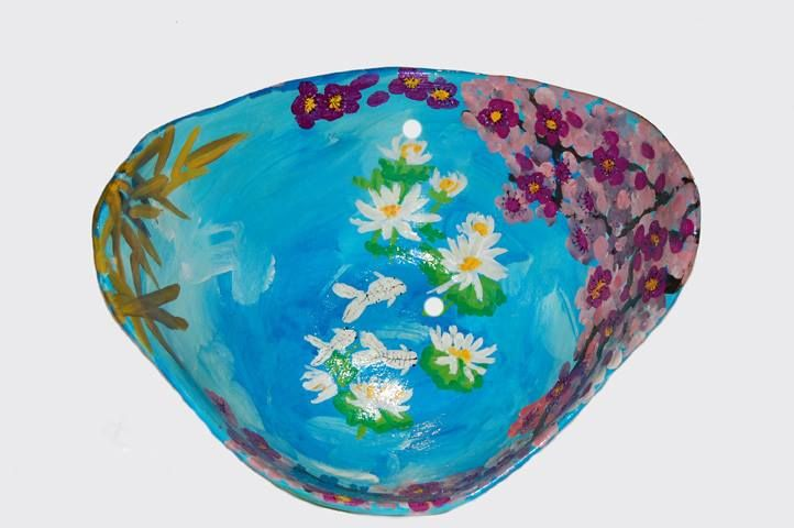 Maxine's Rock the Bump classic belly bowl - May 2016 (created by Zoe Keeping at Rock the Bump pregnant belly and body Casting.  Artwork by Penny Biscombe)