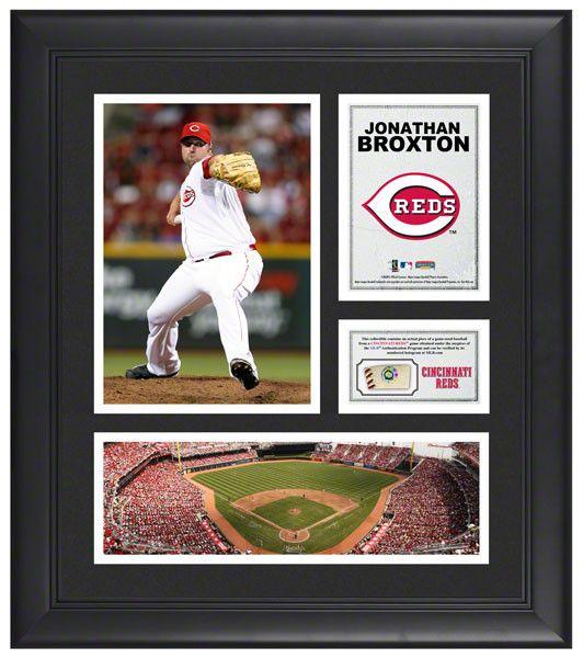 Jonathan Broxton Cincinnati Reds Framed 15x17 Multi-Photo Collage with Game Used Baseball