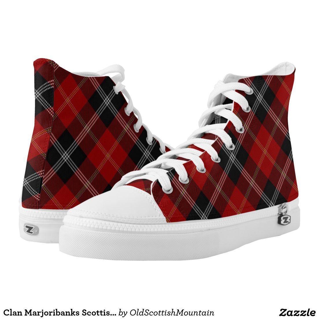 Clan Marjoribanks Scottish Red Black White Tartan High-Top Sneakers