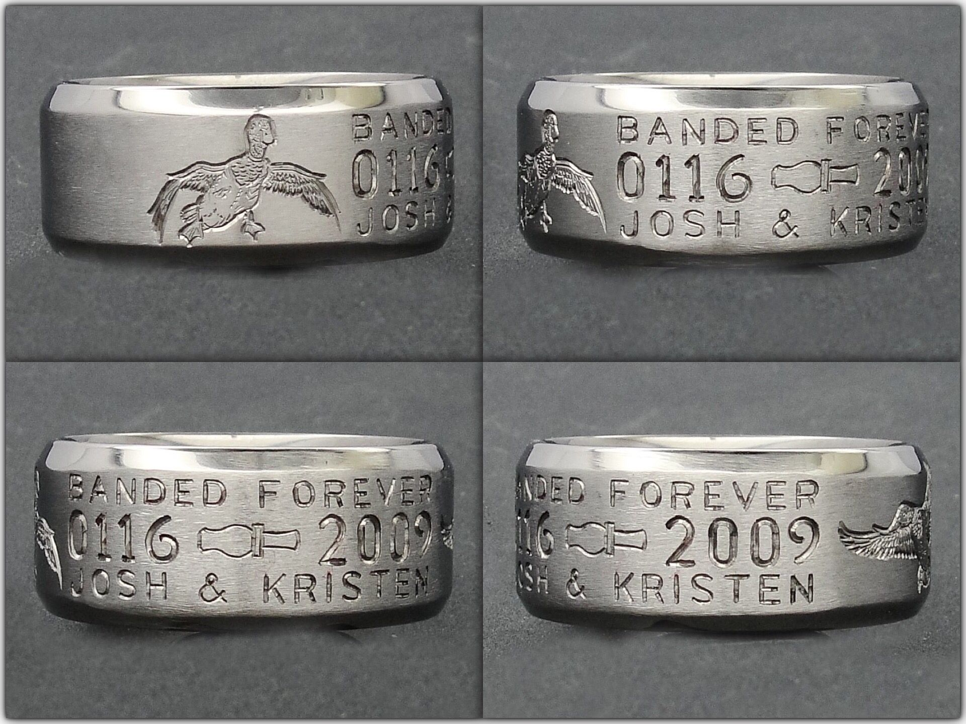duckbandbrand's custom wedding band, with 3d duck call. have the