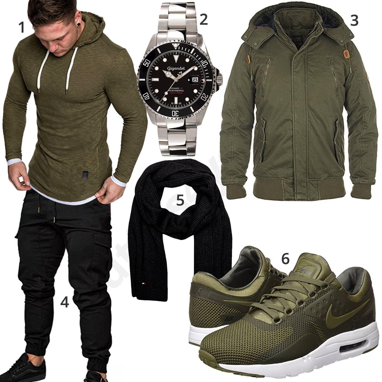 Grün Schwarzer Street Style mit Sneaker und Hoodie   Herren