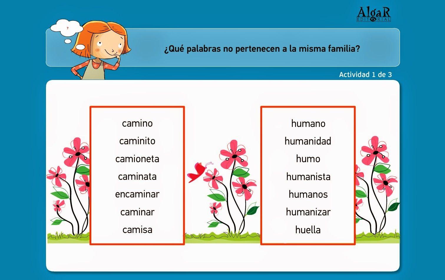Colegio José Calderón Familia De Palabras Niveles De La Lengua Razonamiento Verbal