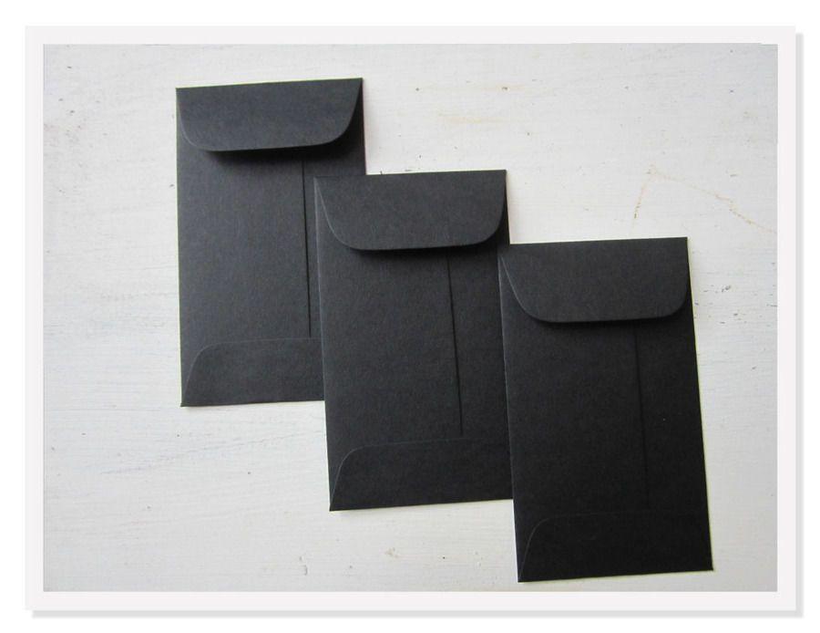100 Black Card Envelopes Gummed Flap Mini Gift Enclosure Coin