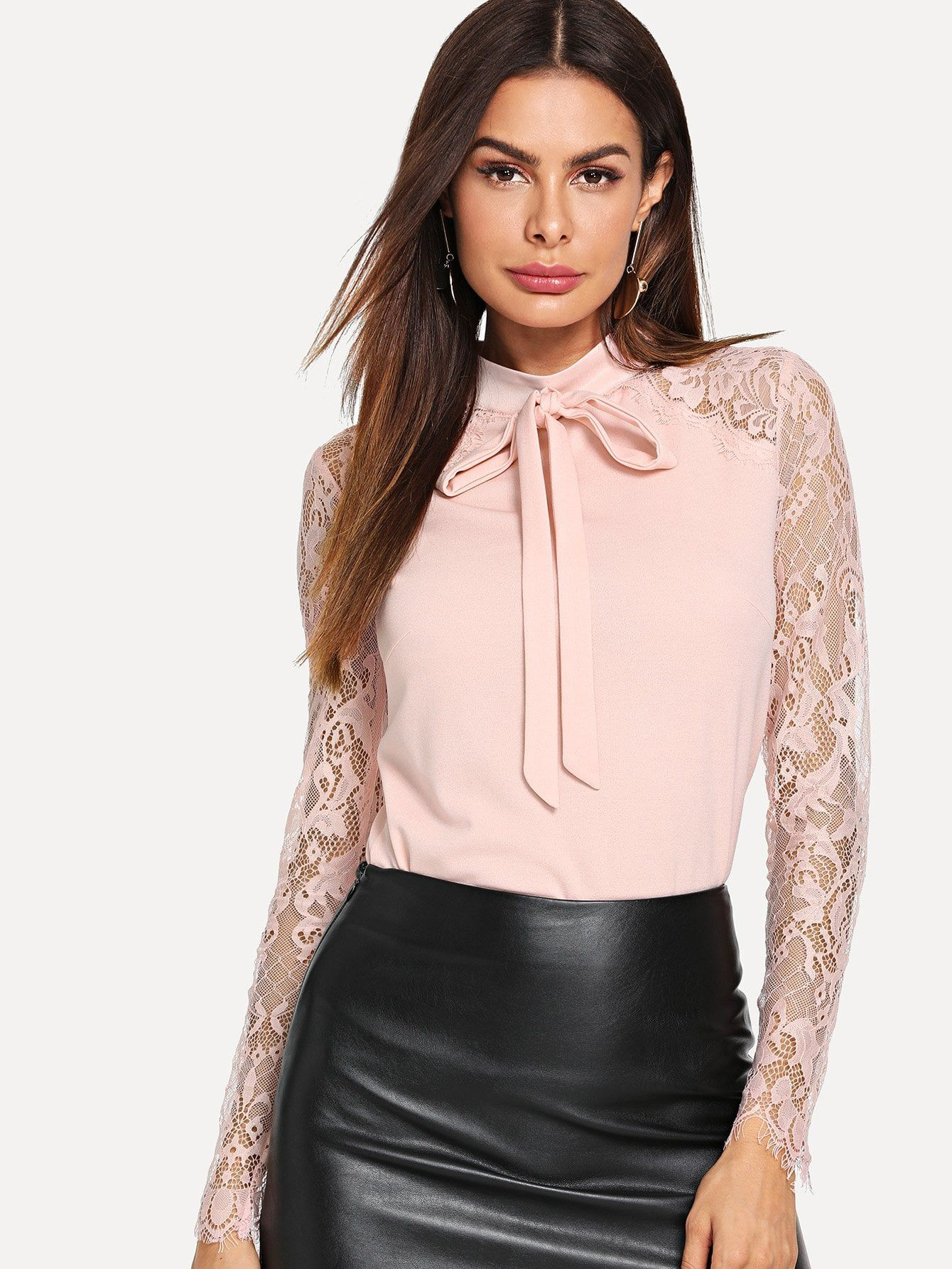 320a889add Elegant Plain Top Slim Fit Stand Collar Long Sleeve Raglan Sleeve Pink  Regular Length Tie Neck Lace Sleeve Fitted Top