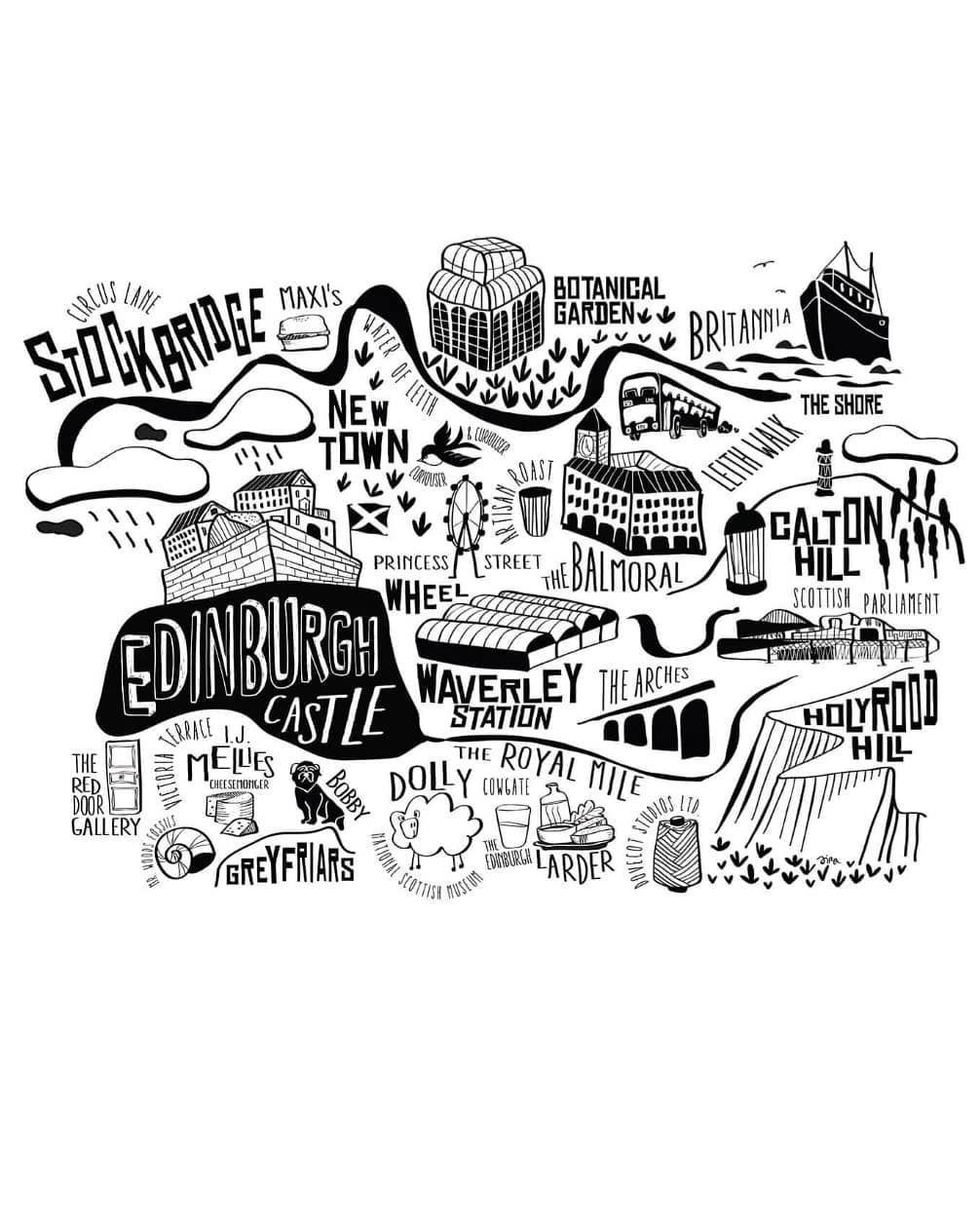 Edinburgh Scotland Coordinates Black /& White Travel Quote Poster Print