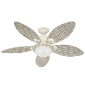 220 Amazon Hunter 21648 Caribbean Breeze 54 Inch Ceiling Fan With Optional Light And 5 Wicker Blades Ceiling Fan With Light Ceiling Fan White Ceiling Fan