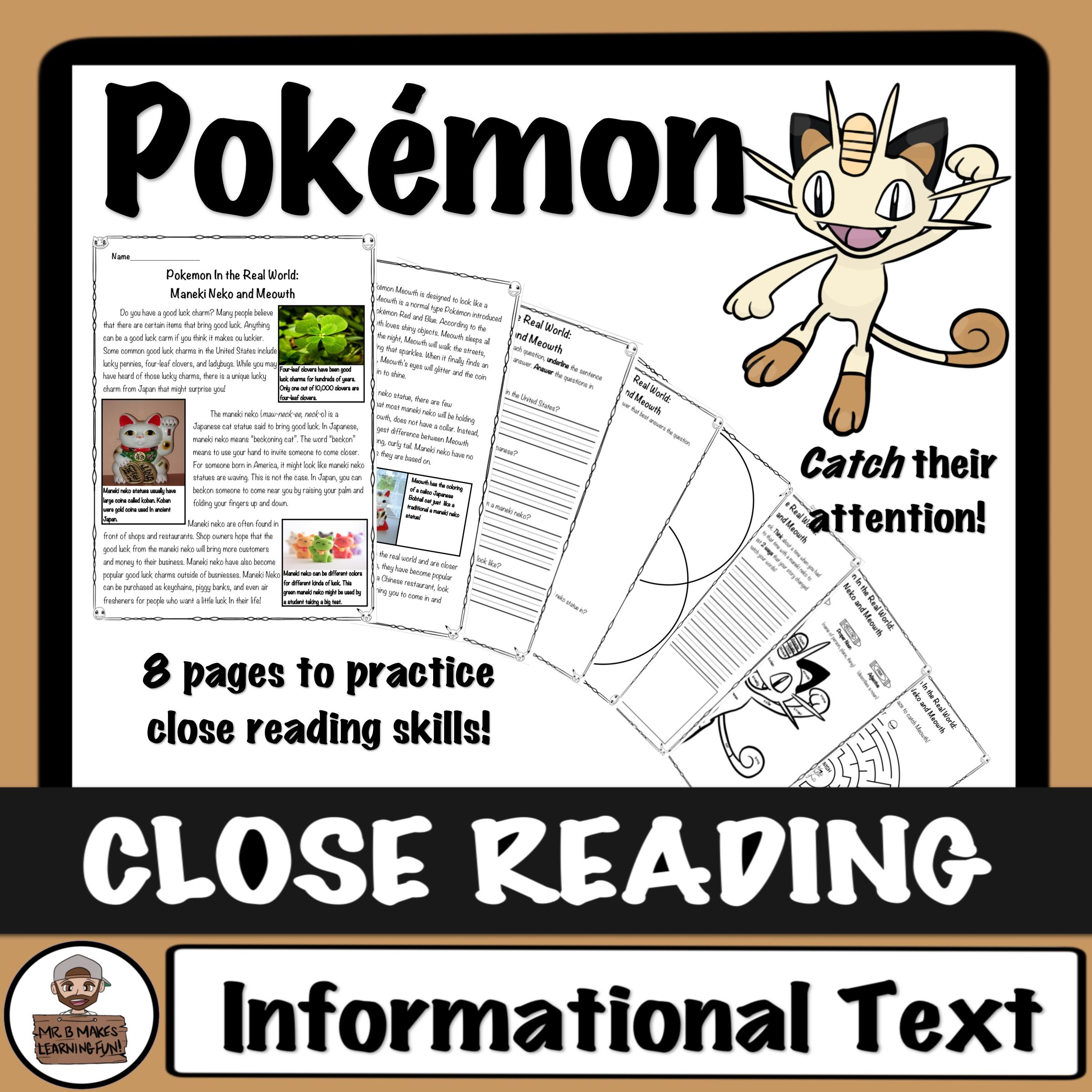 Pokemon Close Read And Worksheets Activities Maneki Neko