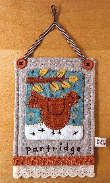 Linen Partridge Hanging by PatchworkPottery