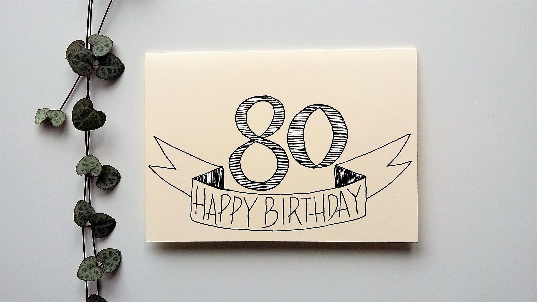 80th Birthday Card Hand Drawn A6 Blank Birthday Card Handmade Hand Drawn Cards By Beck S Crea 80th Birthday Cards Blank Birthday Cards Birthday Card Drawing