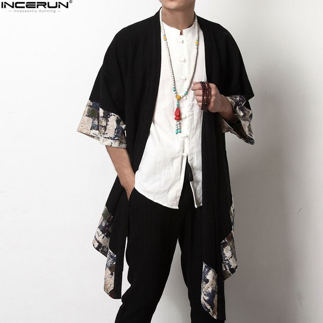 Plus size men long outwear shirts half sleeve irregular