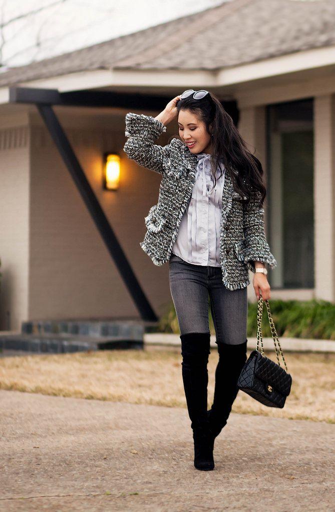 cute & little blog | petite fashion | silver fringe tweed jacket ...
