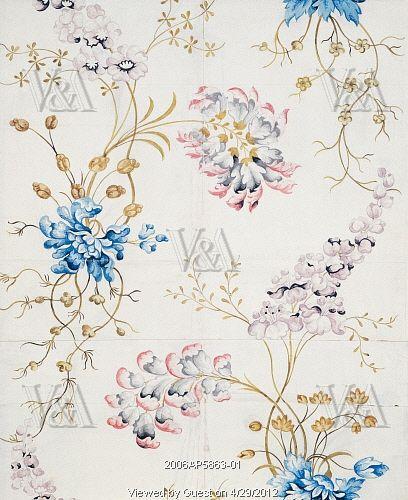 Textile design, by Anna Maria Garthwaite (1690-1763). Watercolour. Spitalfields, London, 1741.