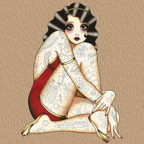 Tattoed Pin Up Girl Old School Tattoo Flash Art Design | Full Tattoo