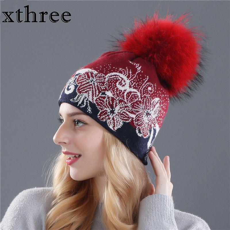 45e55a10f8a winter beanies wool knitting hat for women real mink fur pom poms Skullies  girls  xthree  Casual