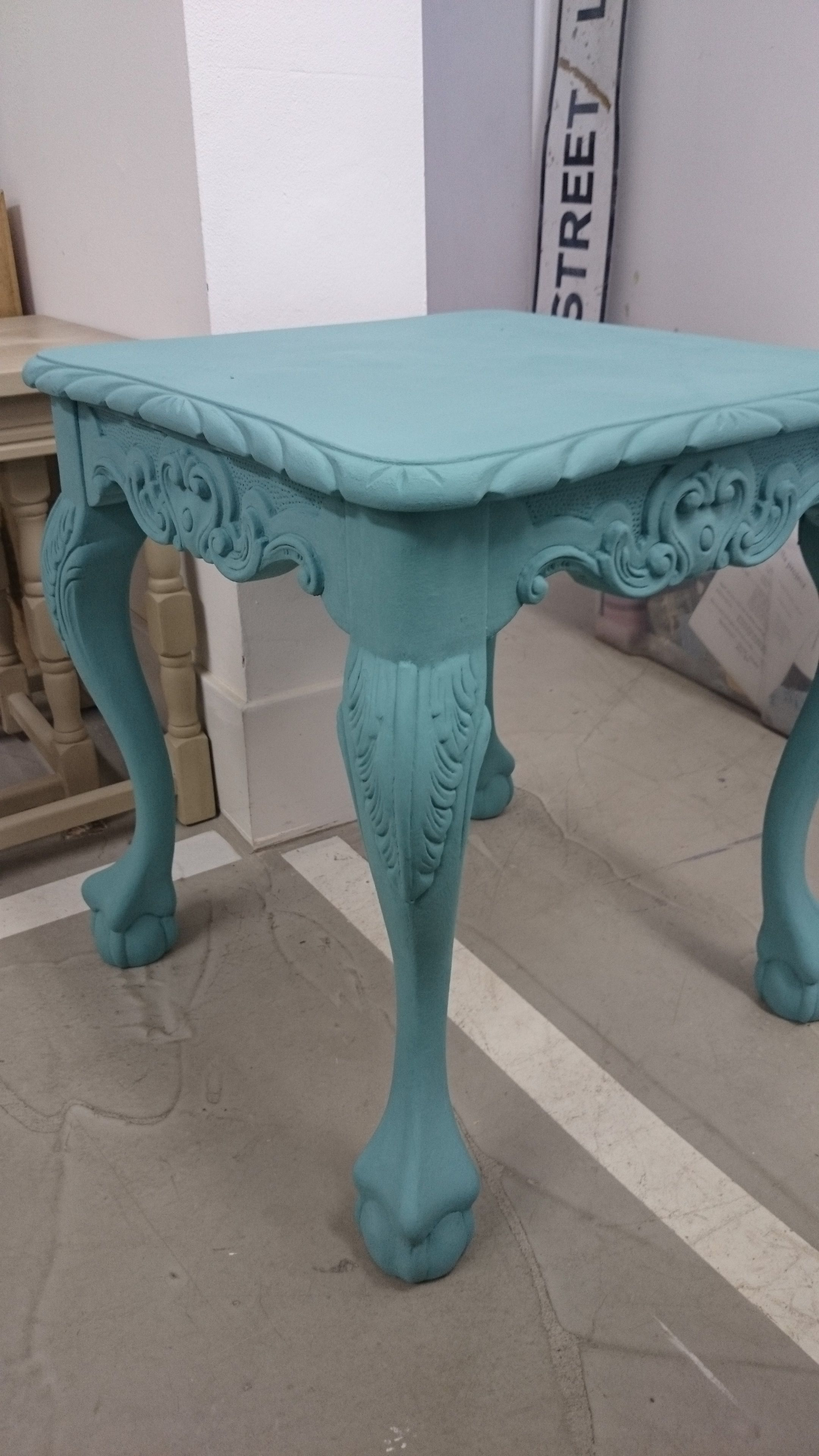 Upcycled french style side table in Provance Chalk Paint™ finished with clear wax. SOLD.