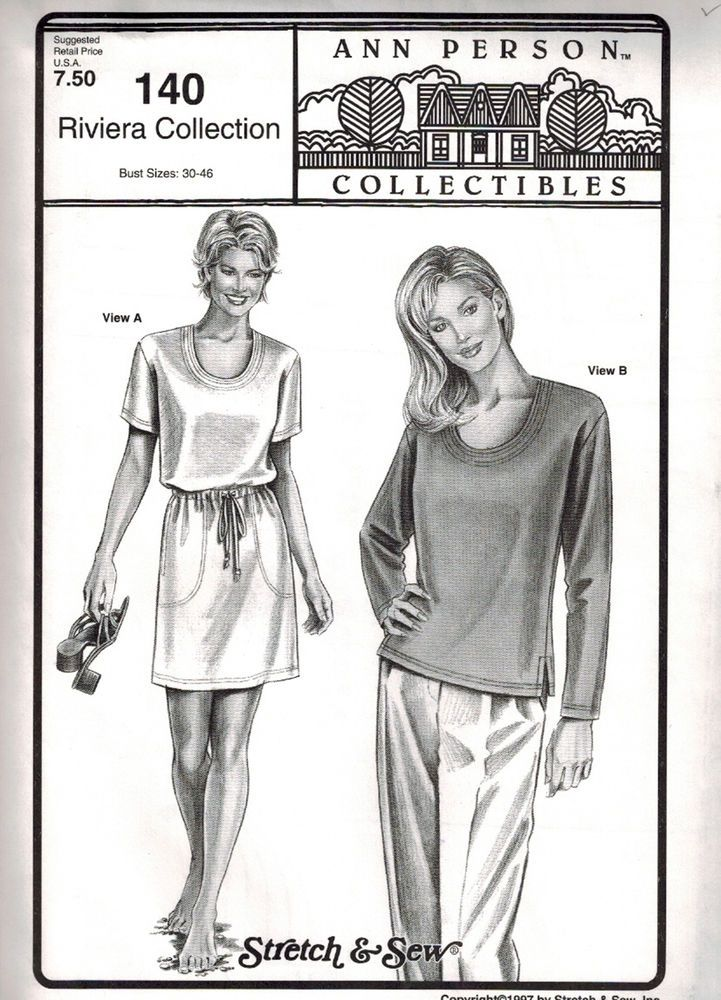 Stretch Sew Pattern 140 Riviera Collection Bust 30 46 Ann