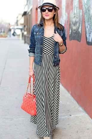 17 Super Useful Styling Tips For Women Under 5'4. Love this pretty striped maxi dress with a jacket or cardigan for layering