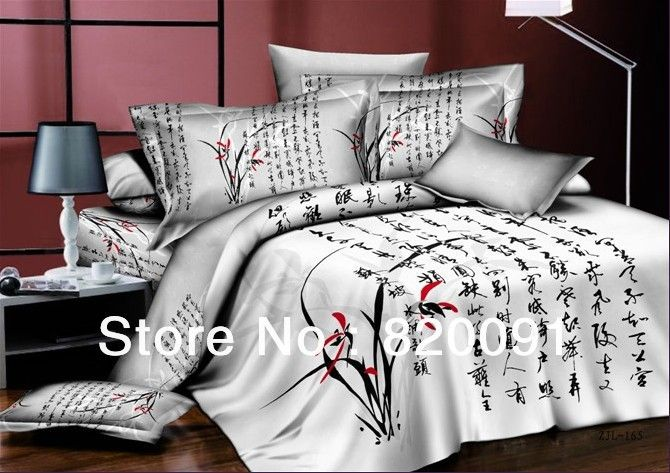 Asian Style Comforter Sets Hot For Traditional Chinese Caligraphy Bedding Set Duvet