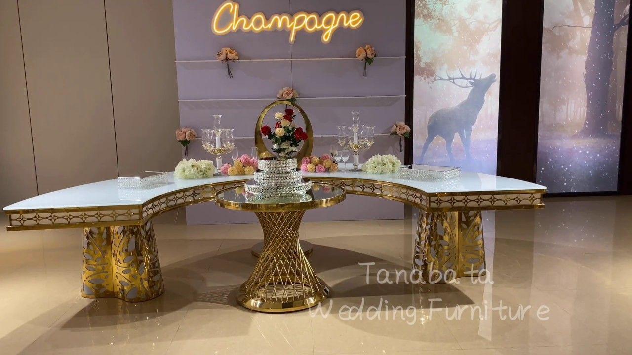 Luxury Half Round Wedding Table With Led Light In 2020 Round Wedding Tables Wedding Table Moon Wedding