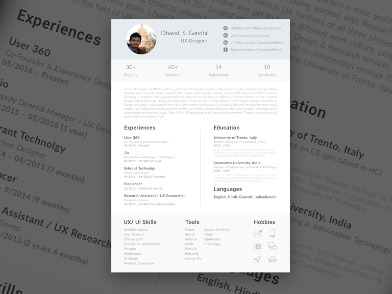 Single Page Resume Free Sketch App Resources Pinterest