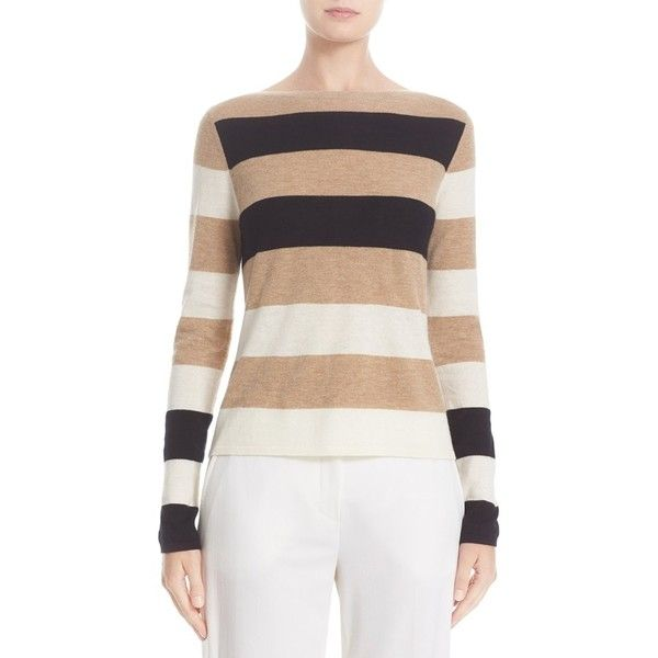 Women's Max Mara Savina Stripe Cashmere Sweater (€535) ❤ liked on Polyvore featuring tops, sweaters, fitted tops, fitted sweater, striped sweater, cashmere sweater and stripe top