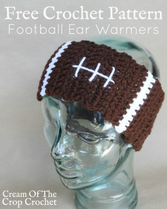 Football Ear Warmers Crochet Pattern | Cream Of The Crop Crochet ...
