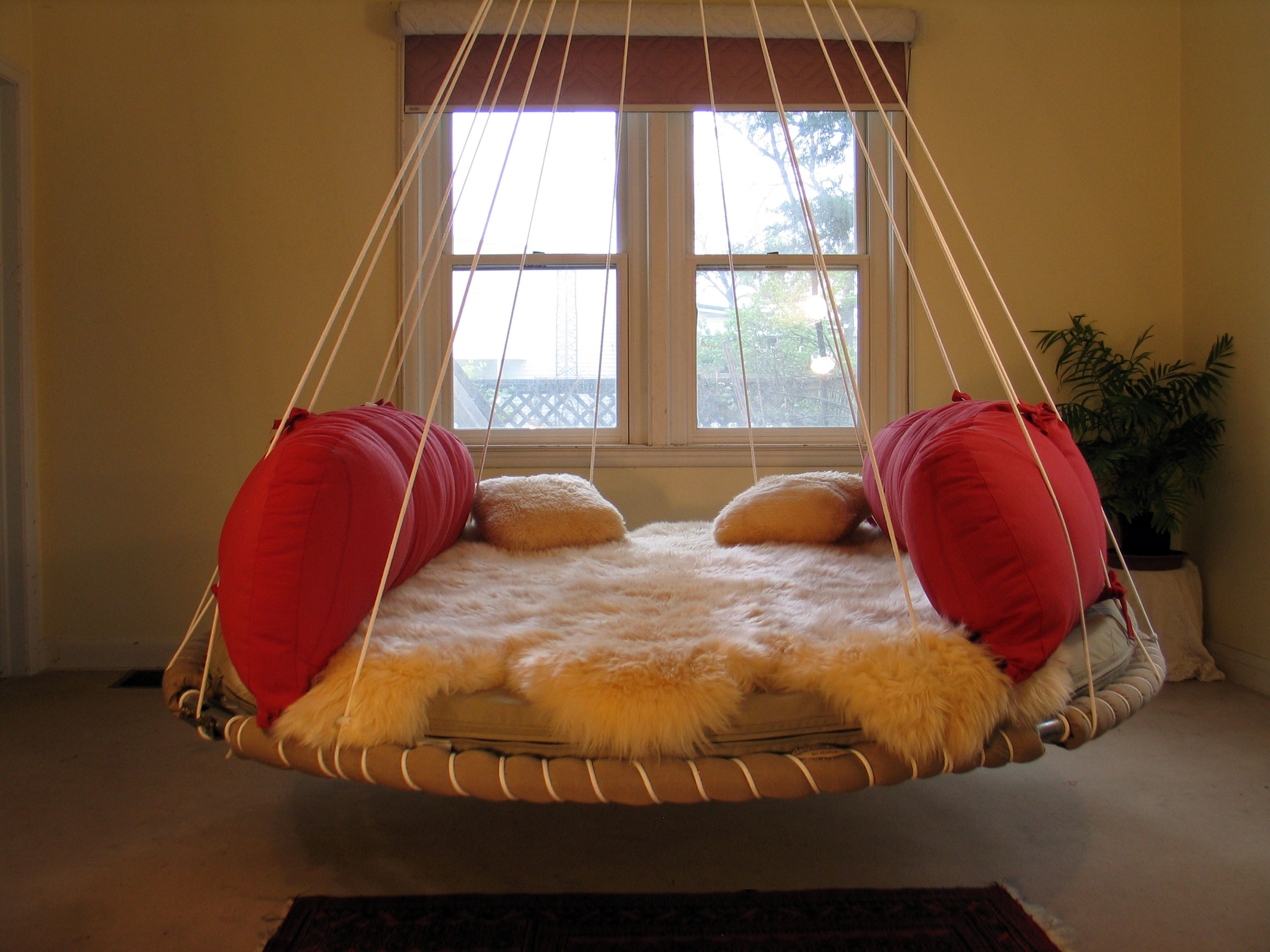 Comfy is that sheepskin as well hanging beds