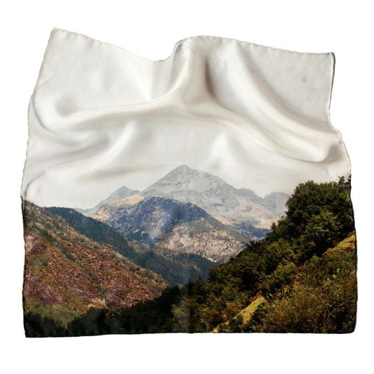 Sierra 1 - 43x43 Silk scarf - Digital printed and featuring original photography by Las Coleccionistas on Etsy, $48.00