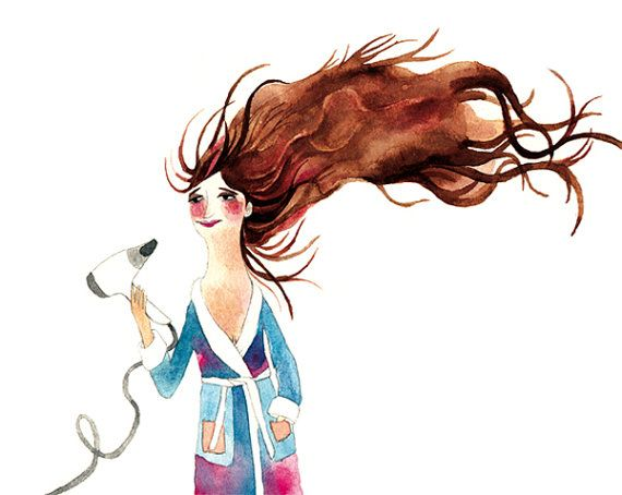 Hair Drying Woman Print Illustration Watercolor Bath Brown By
