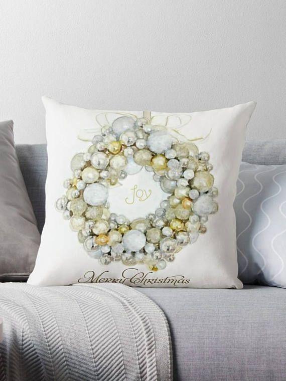 #MerryChristmas #SeasonalDecor #SilverGoldXmasDecor Merry Christmas Pillow Seasonal Pillow Cover Decorative