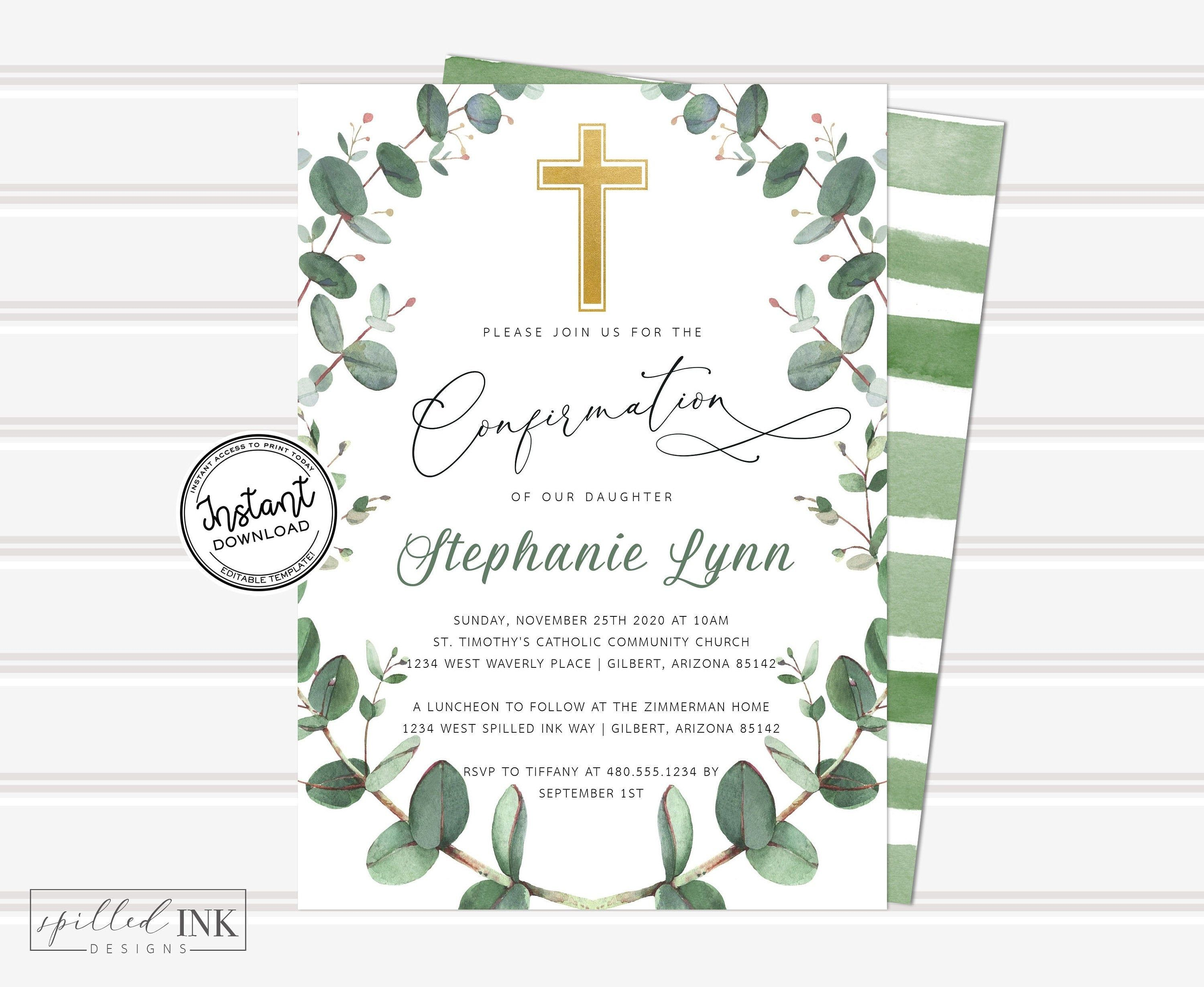 Photo of Greenery Confirmation Invitation with Eucalyptus Wreath Gender Neutral • INSTANT DOWNLOAD • Editable Invite • Printable, Editable Template
