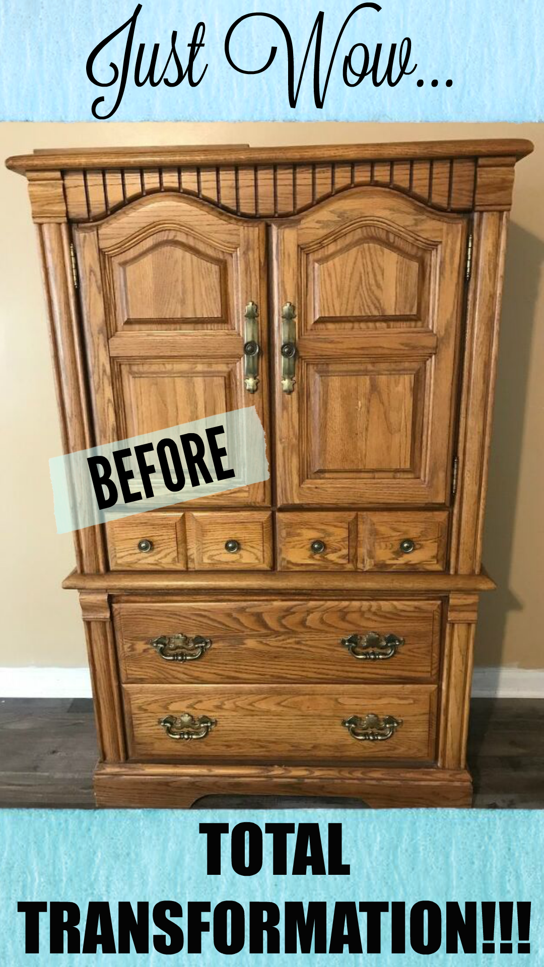 Diy Farmhouse Armoire Cabinet Update Redo Furniture Budget