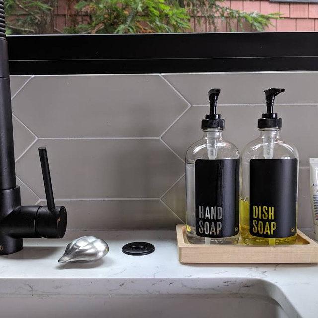 Handmade Maple Wood Tray Soap Dispenser Tray Kitchen Soap Dispenser Glass Soap Dispenser Soap Dispenser