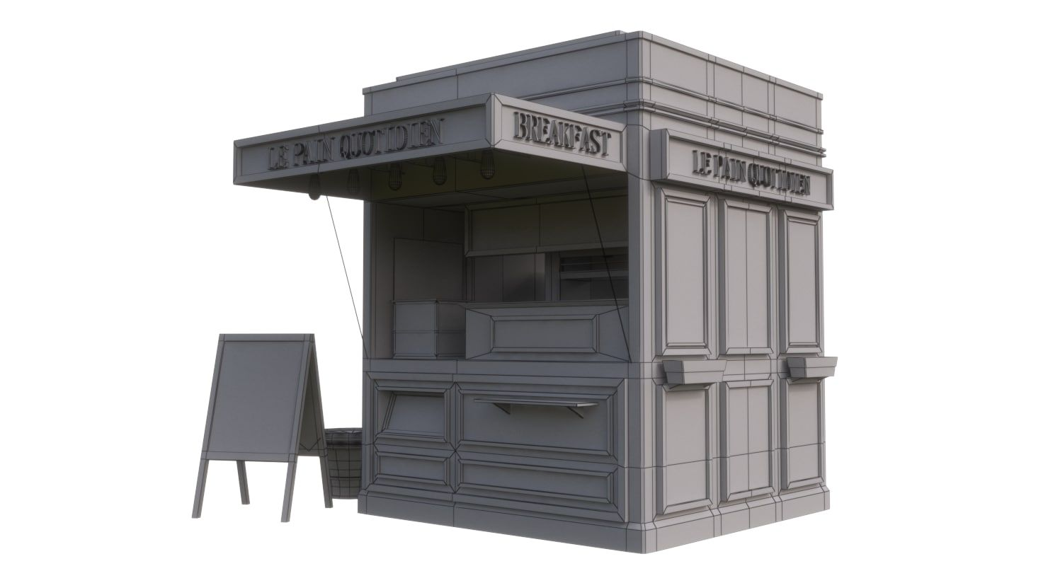 3d model coffee kiosk (With images) | Kiosk design. Food cart design. Coffee shop design