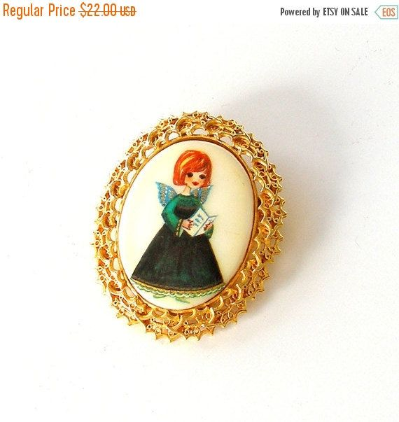SALE Tanger ll Christmas Pin. Hand Painted Angel by retrogroovie