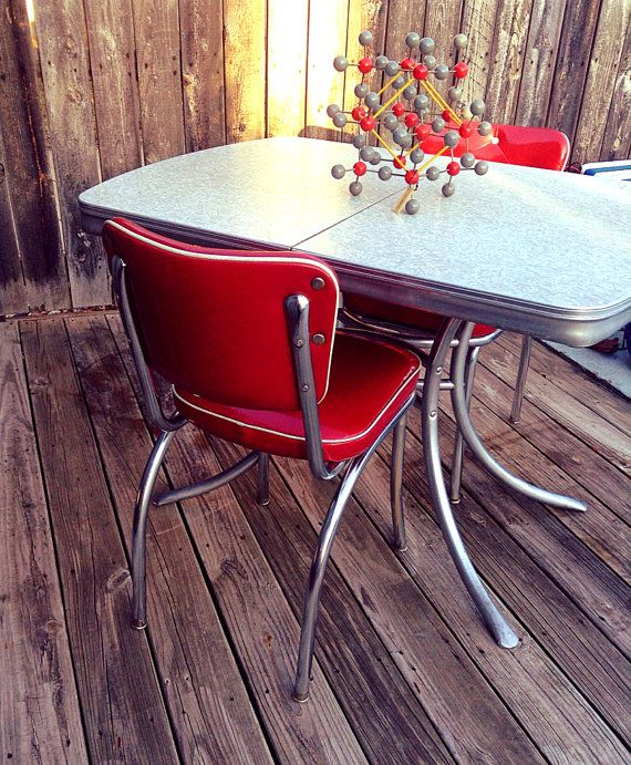 Atomic Era/1950u0027s Style Chrome Dining Chairs by HUEisit on Etsy $150.00 & SOLD to Brianna-Atomic Era/1950u0027s Style Chrome Dining Chairs ...