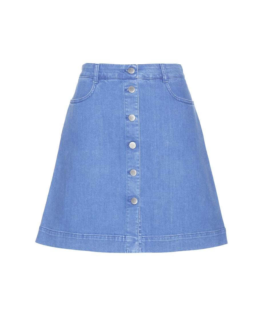 Stella McCartney - Denim skirt - The light blue colour and A-line silhouette at a mini length make for a laid-back, feminine vibe. Logo-embossed buttons down the front ensure a luxe look. - @ www.mytheresa.com