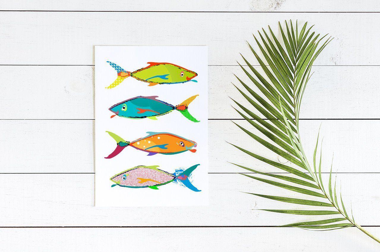 Fish Bathroom Wall Decor Canvas Or Print Coastal Art Etsy Beach House Wall Art Nautical Wall Decor Nursery Canvas Art Tropical fish bathroom decor