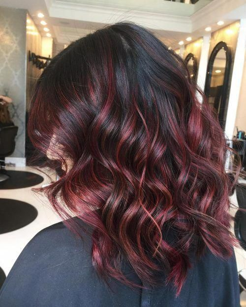 Dark Mocha With Red Highlights Redhaircolor Dark Hair With Highlights Red Highlights In Brown Hair Balayage Hair Dark