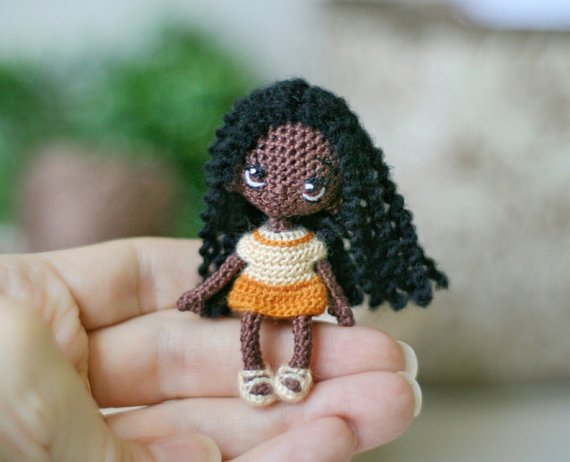 collectible doll miniature crochet doll miniature doll little doll crochet toy mother's day gift for girl amigurumi African-American doll #littledolls