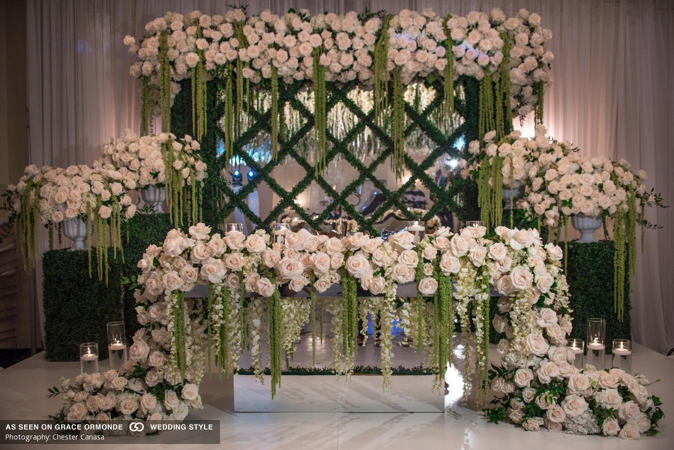 Garden Themed Inspiration Wedding Reception Backdrop White Roses