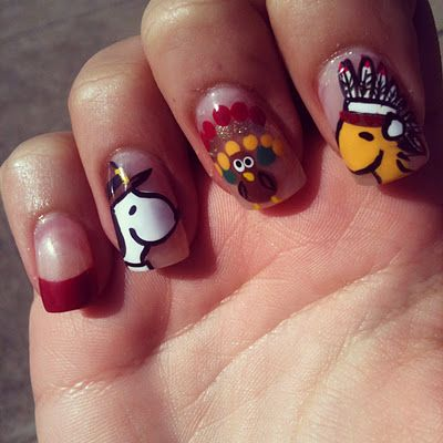 Snoopy Thanksgiving Nails