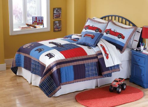 Cars Boys Vintage Race Car Bedding By My World Is Perfect For Boys Who Is A Classic Sports Car Fan The Quilt Comes In Boys Bedding Sets Boys Bedding Car Quilt