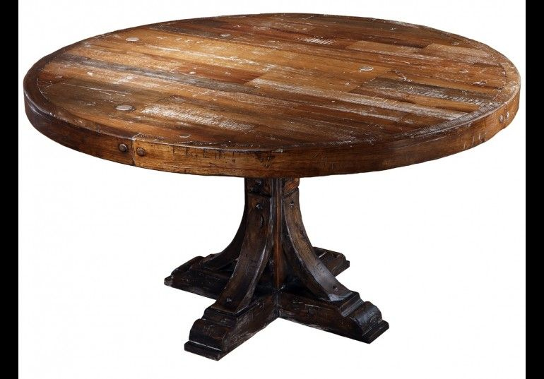 Rustic style solid wood round dining table | Rustic round ...